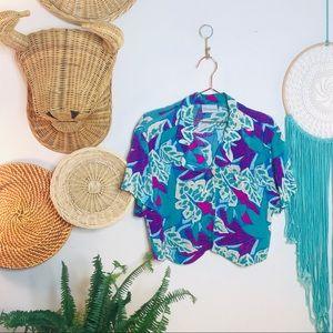 vtg vsco Tropical Crop Hawaiian Button Popover